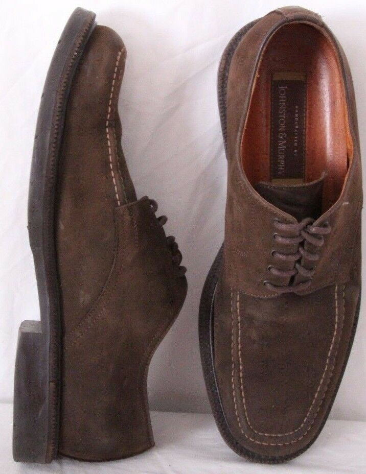 Johnston & Murphy 20-1645 Brown Suede Stitched Casual moc Oxfords Men's US 10.5