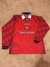 Manchester United Home Shirt 1996/98 adulti Large (L) MANICA LUNGA JERSEY UMBRO