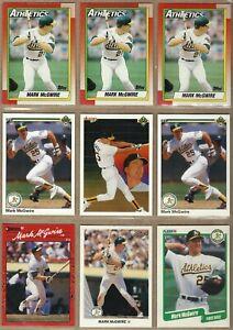 1990 MARK McGWIRE 9 Card Lot: Leaf #62, Topps, Fleer, Upper Deck, Donruss - MINT