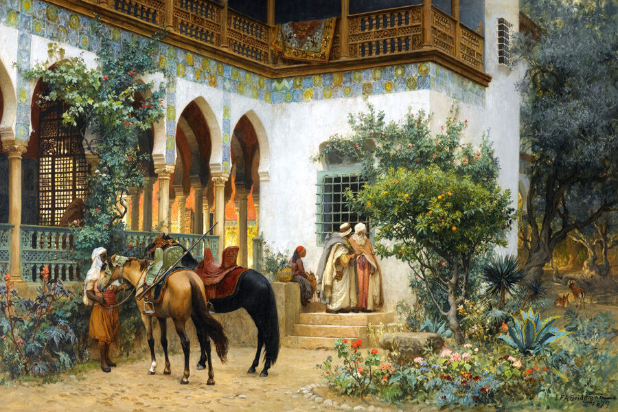 A NORTH AFRICAN COURTYARD ARAB ORIENTALIST PAINTING BY FrotERICK BRIDGMAN REPRO