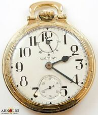 Waltham Vanguard 23J RR Pocket Watch w/ UP/DN Wind Indicator - Running! Superb!