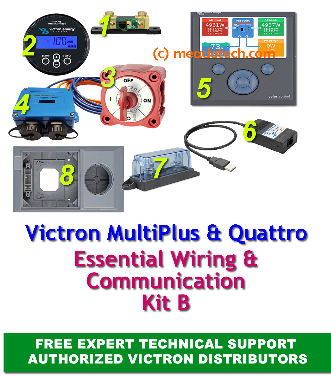 Victron Energy Multiplus Quattro Off Grid Wiring and Communication Kit B