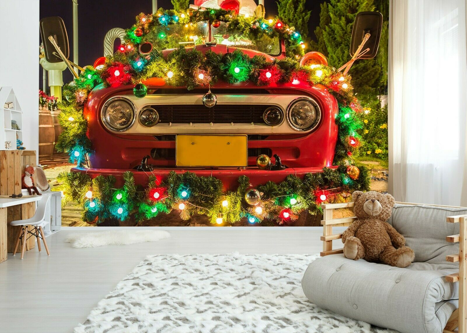 3D Weihnachtsrotes Auto O52 Auto Tapete Wandbild Selbstklebend Abnehmbare An