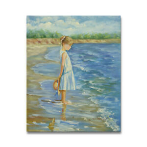 NY-Art-Little-Girl-at-the-Sea-Shore-20x24-Original-Oil-Painting-On-Sale