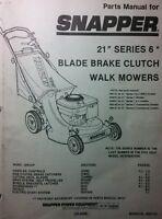 Snapper 21 Series 6 Walk Behind Mower Parts Manual 20pg 1989 Blade Brake Clutch