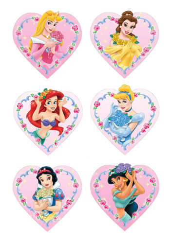 DISNEY PRINCESS 48 CAKE TOPPERS PARTY ICING SUGAR  HEART SHAPE DIY IMG d NEW***
