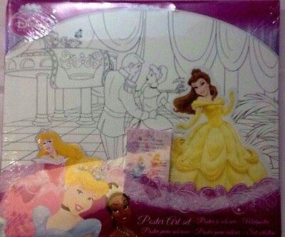 3 Poster Da Colorare Adesivi E 6 Pastelli Cera Principesse Disney Princess Nuovo