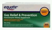 2x Equate Gas Relief & Food Enzyme Dietary Supplement 100 Count No Box
