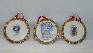 THREE-SPUDS-McKENZIE-MACKENZIE-CHRISTMAS-SANTA-CLAUS-BLUE-FOOTBALL-ORNAMENTS