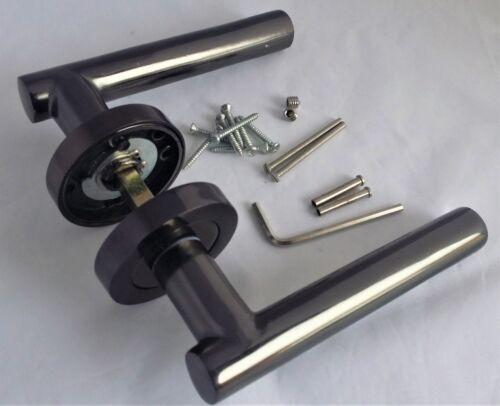 Stylish Black Nickle T BAR DOOR HANDLES on Round Rose STRAIGHT HANDLE Knobs D5
