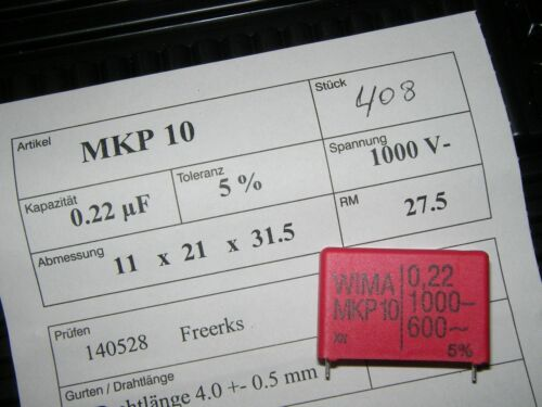 0,22µF 220nF WIMA MKP10 0.22uF 1000V 5/% pitch:27.5mm Capacitor