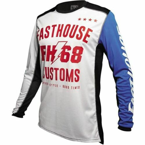White//Black//Blue//Red Sz L Fasthouse Worx 68 Youth Motocross Jersey