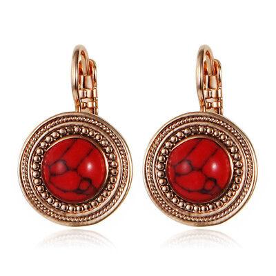 Boucles d/'Oreilles Dormeuse Doré Ethnique Rond Gravure Mini Perle Rouge DD10