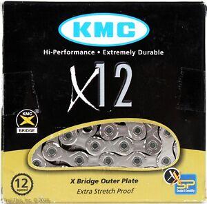 KMC-X12-12-Speed-126-Links-MTB-Bike-Chain-Silver-fits-12-Speed-SRAM-NX-GX-Eagle