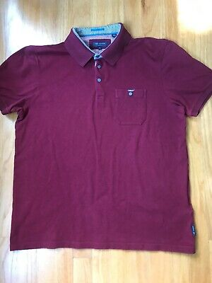 Ted Baker London Burgundy Polo Shirt Size 5 Ebay