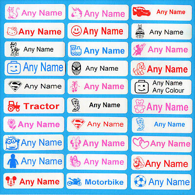 50 Iron On School Name Labels Tags Printed Waterproof Personalised Tapes uniform
