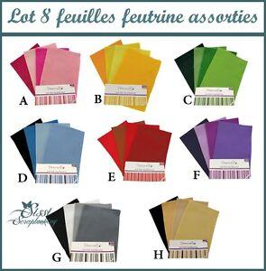 lot 8 planche feuille a4 feutrine couleur assortie scrapbooking couture scrap ebay. Black Bedroom Furniture Sets. Home Design Ideas