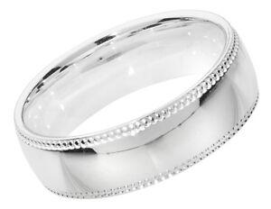 Calidad-de-Borde-de-grano-de-plata-esterlina-Anillo-de-boda-6mm-Nuevo-Tallas-Grandes