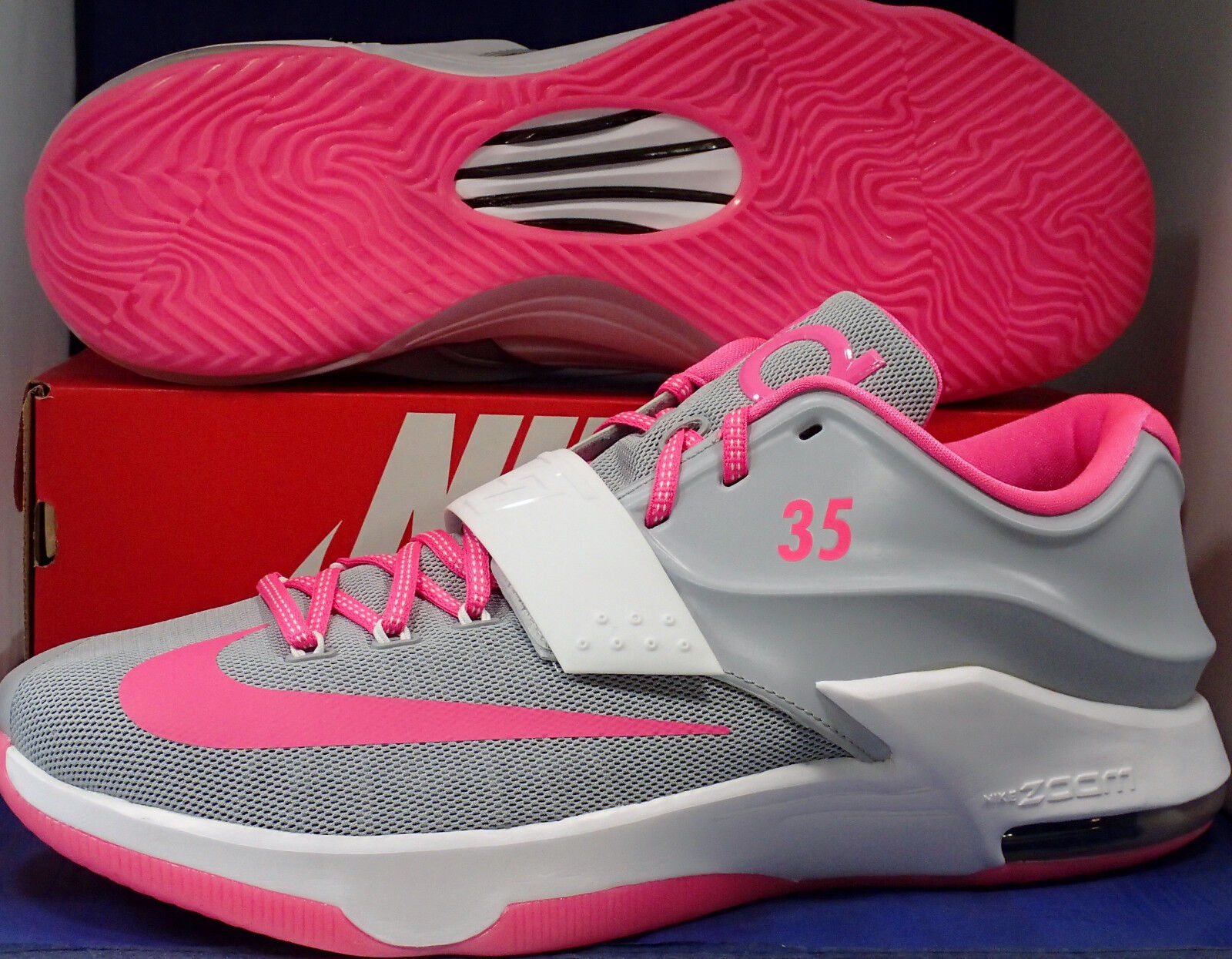 Nike KD VII 7 iD Grey White Pink Aunt Pearl Kevin Durant SZ 15 ( 704380-981 )