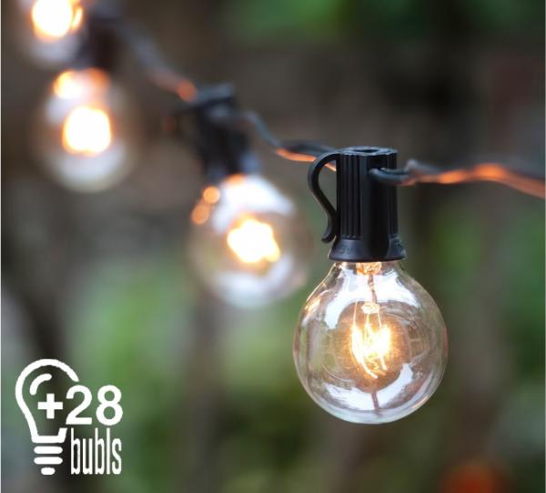 25ft Outdoor String Bulb Festoon Hang Up Back Garden Gazebo Pub Fairy Lights