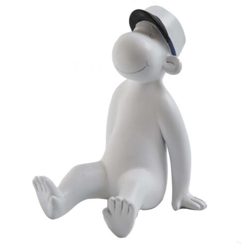 Dekofigur Monkey White Blue Sitting 10cm