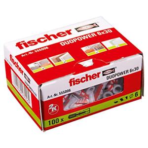 Fischer 555006 duopower prise murale Set de 100 pièces rouge//gris 6x30