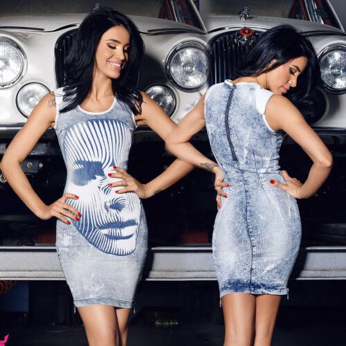 FOGGI Damenkleid Jeanskleid Minikleid Jeans Sommerkleid Strandkleid 34-38 #F93