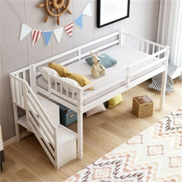 Twin Loft Bed With Desk Storage For Kids Stairs Bedroom Furniture Drawer Shelves For Sale Online Ebay