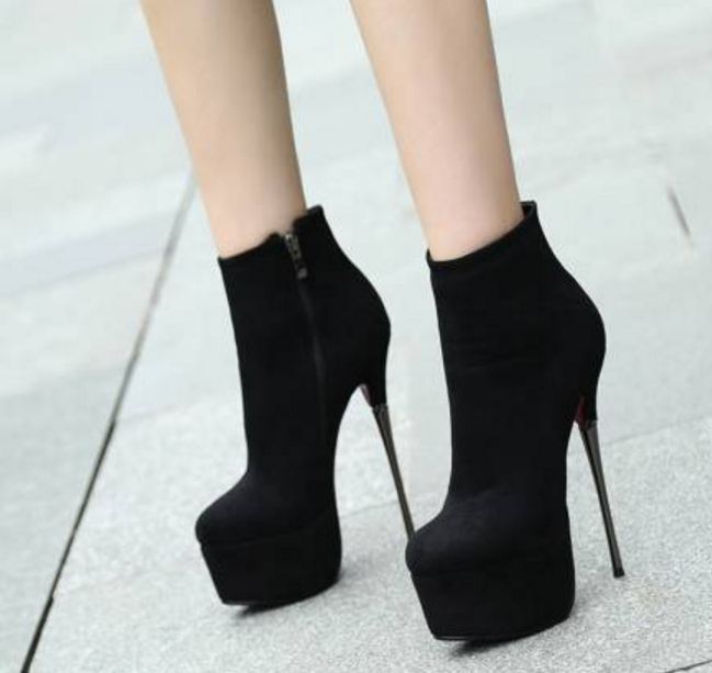 Womens Suede Platform Evening Party Mid Calf Boots Stilettos High Heel shoes