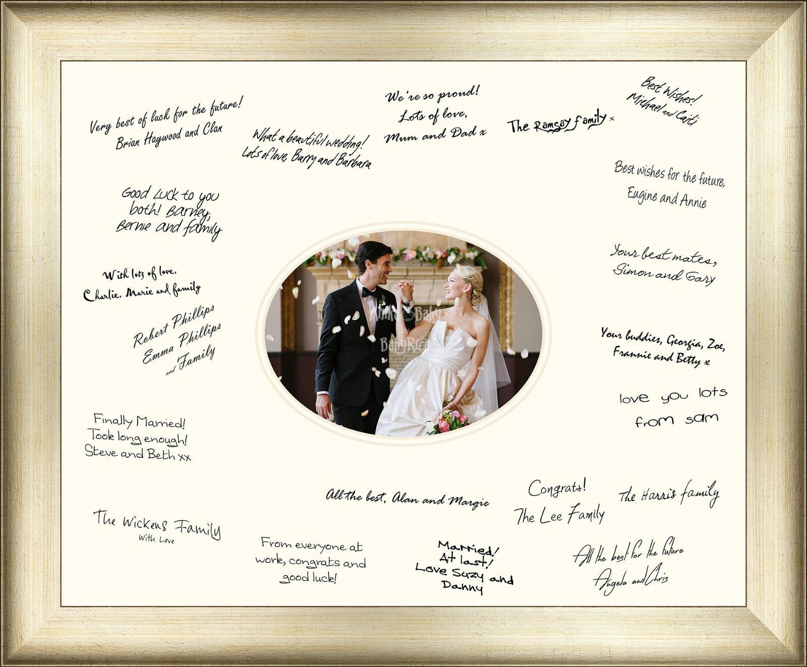 Nouveau Mariage Invité message signé signature cadre I O livre antique finition argent