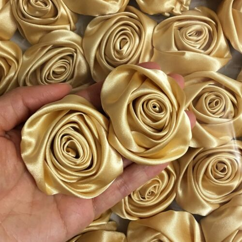 "12PC Gold 2/"" Satin Ribbon Rose Flowers DIY Wedding Bridal Dress Bouquet 50mm"
