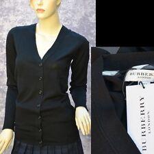 BURBERRY LONDON New sz M Check Logo Designer Womens Black Wool Sweater Cardigan