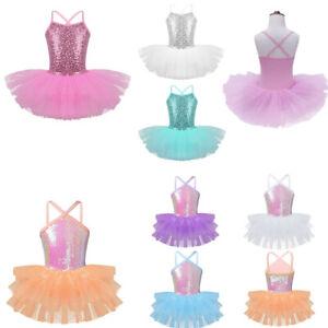 Girl-Kids-Ballet-Leotard-Dance-Dress-Tutu-Sequin-Mesh-Skirt-Gymnastics-Dancewear
