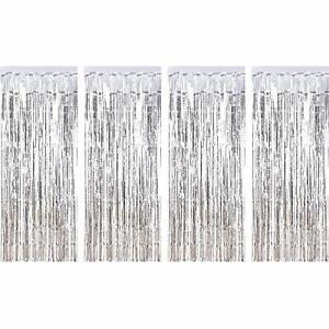 4pk SILVER Fringe Metallic Curtain Tinsel Backdrop New ...