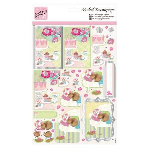 ANITAS FOILED DECOUPAGE FOR CARDS OR CRAFTS KITTY AND CAKE