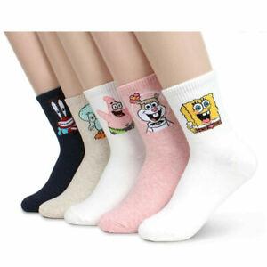 Spongebob Womens Socks Cute Stripe Ankle Socks 5 Pairs Set
