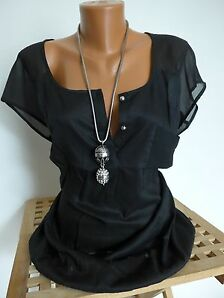 Laura Scott Viskose Shirt Bluse Gr. 40 - 50 Schwarz Gummizug unten NEU