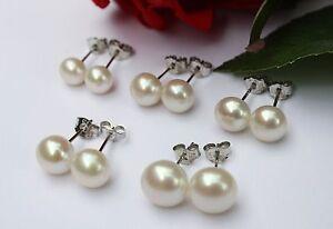 6mm 7mm 8mm 9mm 10mm Süßwasser Perlen Schmuck Ohrringe Ohrstecker 925 Silber