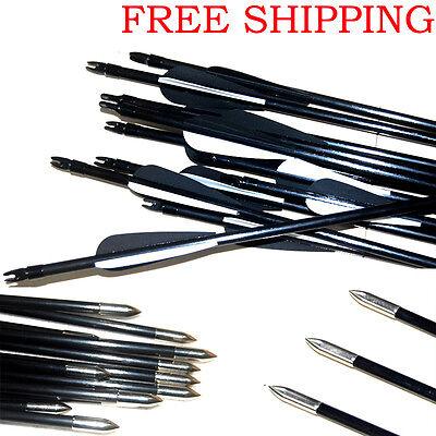 Archery Hunter Steel Arrows Durable  Fiberglass Hunting /& Target Practice //LOT