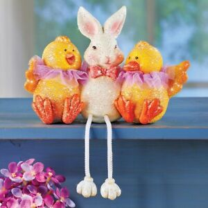 Festively Dressed Bunny and Chicks Easter Tabletop Sitter Collectible Figurines