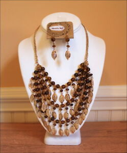Cowgirl-Gold-Leaf-Charms-Amber-Beads-Layered-Multi-Strand-Necklace-Set