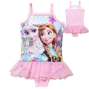 Kids Girls Frozen Anna Elsa Cute Bikini One Piece Swimsuit
