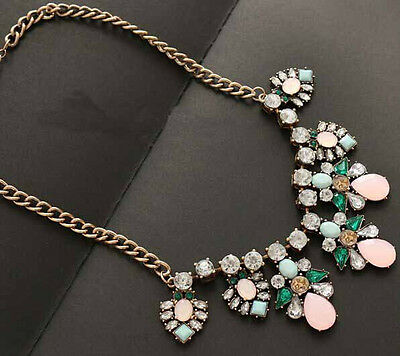 High Quality New Pop Vintage Jewelry Crystal Resin Drop Flower Choker Necklace