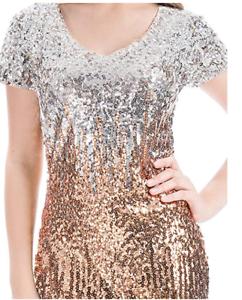 MANER Women s Sequin Glitter Short Sleeve Dress Sexy V Neck Mini ... 380efdb97