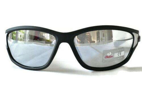 Indian Motorcycle Sunglasses Plastic Frame Wraparound Smoke Silver Mirror Lens
