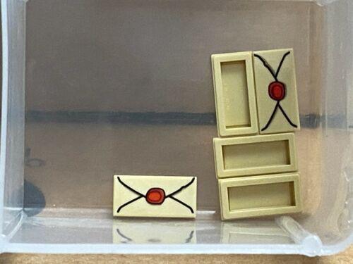 No 3069b Tan Tile 1 x 2 Envelope Red Wax QTY 5 LEGO Parts