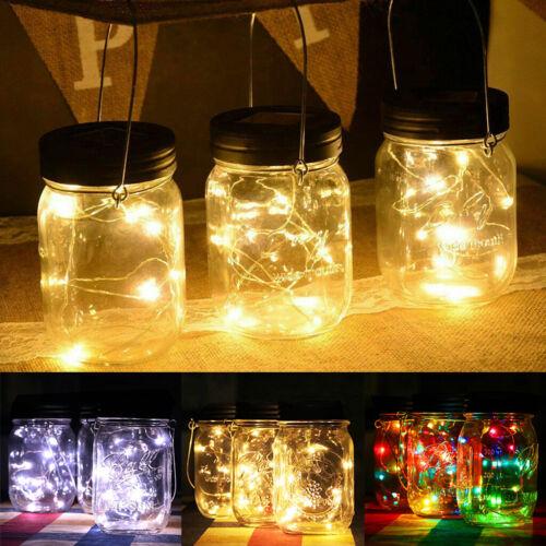 LED Fairy Solar Lights Mason Jar Lid String Night Light Home Garden Party Decor