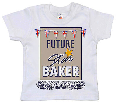 "Rational Bake Ab Baby T-shirt "" Future Star "" Lustig Gbbo Backen Junge Mädchen"