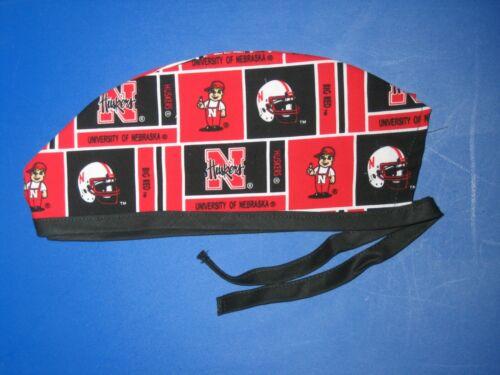 Surgical Scrub Hats caps Nebraska Cornhuskers  red /& white /& black