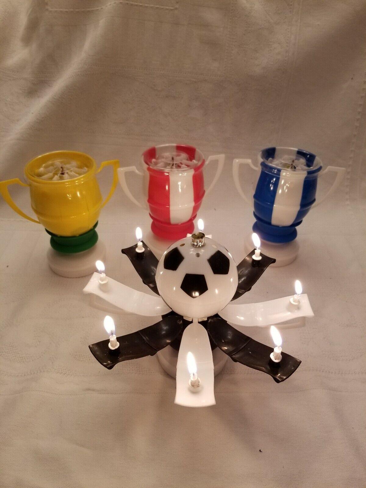 Magique Anniversaire Bougies ballon de foot  trophée style  couleurs mélangées Cake Topper.